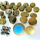 ANTIQUE Button Lot Victorian Aqua Glass Waistcoat Square Steel Cut Brass/gold
