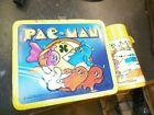 Vintage 1980 Pac Man Metal Lunch Box Matching Thermos 80s Video Game Man Cave