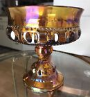 Vintage Indiana Glass Marigold Carnival Kings Crown Thumbprint Compote 5.25 Tall