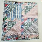 Vintage Feedsack Quilt Cutter Handstitched Triangles Tattered Torn  15 x 16  tr2