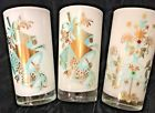ANGEL'S AUCTION VINTAGE MCM SET OF 3  XMAS DRINKING GLASS TUMBLERS  GOLD AQUA