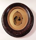Unusual Antique Eglomise Reverse Glass Silhouette Painting
