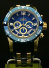 New Invicta Mens Pro Diver 50 MM Chrono 18K Gold Plated Blue Dial SS Poly Watch