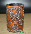Asian  Chinese Bamboo Pen holder  Hand Carved Old man  landscape  Brush Pot