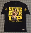 John Cena WWE Never Give Up 10 Years Strong Authentic T-Shirt Size Large Black