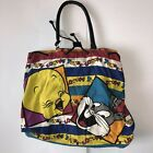 Vtg 90s Looney Tunes Backpack Bag Purse Spellout Tweety Bird Bugs Bunny