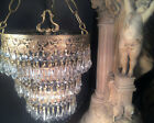 FINE ANTIQUE NYC GOLD GILT 3 TIER WEDDING CAKE CHANDELIER AUSTRIAN CRYSTAL c1920