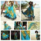 Women Peacock Floral Printed Boho Chiffon Sleeveless Beach Long Maxi Dress USA