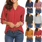 Casual Women Retro Polka Dot Long Sleeve T Shirt Blouse Ladies Summer Loose Top