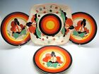 Clarice Cliff Bizarre Farmhouse pattern cake server set Server + 4 plates