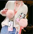 Cute Hello Kitty Wristband Plush Ball Strap Case Cover for iPhone Xs Max Xr 7 8+
