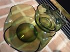 1960's Anchor Hocking Avocado green crimped glass chip/dip set