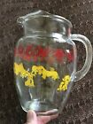 Vintage 50's glass pitcher - Various dogs including Scotties, doghouse, and Fido