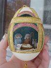 REAL Hand Carved Goose Egg Christmas Gift Collectible Ornament Manger Nativity
