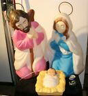 26 Halo Nativity Mary Joseph Jesus Xmas Blowmold Light Up Vtg Outdoor Plastic