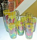 Mid Century Set of 6-10 oz. High Ball Glasses, Pitcher, Stained Glass Tulips
