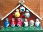 Lot of 3 Three Wood Nativity Sets New Folk Art 10 Pc Colorful 6X8 Christmas