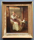 ROGER HENRY 19th C SIGNED ANTIQUE FRENCH OIL BOY LEARNING TO PLAY TRUMPET