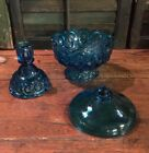 3 Piece Moon and Stars Glass COLONIAL BLUE LE SMITH Candle Lamp
