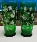 ~Vintage Forrest Green Glass Ice Tea Tumblers! w/ snowflakes~ Set of 2~Very Old!