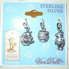 DISNEY CLASSIC POOH STERLING SILVER CHARMS VAN DELL SET 3 NEW OLD STOCK
