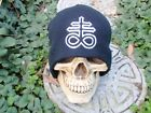 Leviathan Cross ol white embroiderd beanie    666 devil inverted pentagram satan
