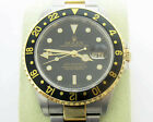 ROLEX GMT MASTER II 18K and Stainless Steel 16713 Men's Wristwatch FREE S