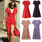 Women's Trend Sexy Deep V Neck Dress Floral Print Slim Waist Boho Beach Dresses