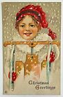 Antique Christmas Postcard Stecher Child Wood Sled Snow Red Stocking Cap 418 B