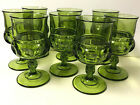 8 Vtg GREEN Indiana Glass KING'S CROWN THUMBPRINT WINE WATER GOBLETS GLASSES Lot