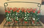 Set of Eight Vintage Christmas/New Year Glasses in Wire Caddy