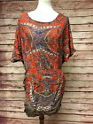 Nordstrom Angie Orange Boho Batwing Tunic Dress, Gypsy, Pockets, Size Large