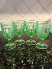 Never Used  LE Smith Herringbone Green Stemmed Water Goblet Glasses