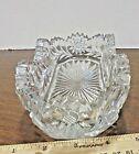 HEAVY VINTAGE GLASS DISH VERY DECORATIVE FLOWERS NO CHIPS OR CRACKS