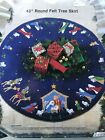 Vintage Bucilla Nativity Felt Christmas Tree Skirt Craft Kit Jeweled Embroidery