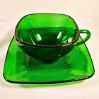 Vintage Anchor Hocking Forest Green Charm Coffee Cup And Saucer