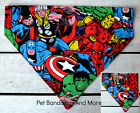 DOG CAT BANDANA MARVEL AVENGERS Thor Hulk Ironman Spiderman Sz XS LOver Collar
