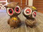 Vintage Made In Japan Owl Salt  Pepper Shakers Boy Courting Girl Hand Painted