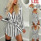 Plus Size Sexy Womens Long T-shirt Ladies Casual Party Mini Dress Blouse Tops