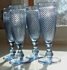4- VINTAGE - BLUE -INDIANA - DIAMOND POINTED  CHAMPAGNE GLASSES 7 1/4