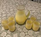 Seven Piece Vintage Yellow Frosted Blendo Juice Pitcher with Six Glasses