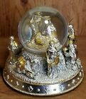 Beautiful Ornate Gold silver Colored Nativity Snow Globe Music Box