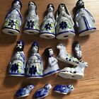 VINTAGE 14 PCS MEXICAN POTTERY NATIVITY SET TONALA SYTLE BLUE CERAMIC
