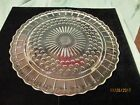FEDERAL GLASS BUBBLES AND PANELS CLEAR GLASS TRI-FOOTED CAKE PLATE