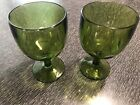 Two Vintage Bartlett Collins Green Thumbprint Goblets