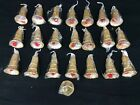 Lot of 22 NOS Vintage Christmas Ornaments Gold Glitter Plastic Bells 4 bells
