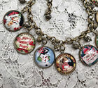 RETRO CHRISTMAS Altered Art GLASS DOME CHARM BRACELET From VINTAGE CARDS ART