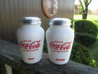Coca Cola Large Salt and Pepper Shaker Milk Glass Style Script Logo NEW