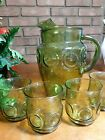 Vintage Anchor Hocking Heritage HILL Pitcher and glasses AVOCADO GREEN
