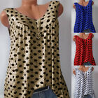 Plus Size Womens Polka Dot Vest Sleeveless Summer Casual Tank Tops Shirts Tee